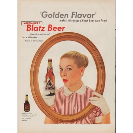 """1954 Blatz Beer Ad """"Golden Flavor"""""""