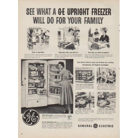 "1954 General Electric Ad ""Upright Freezer"""