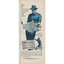 "1954 Stevens Twist Twill Ad ""rugged work clothes"""