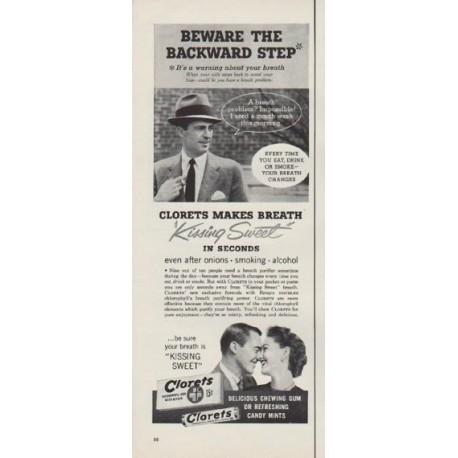 "1954 Clorets Ad ""Beware The Backward Step*"""