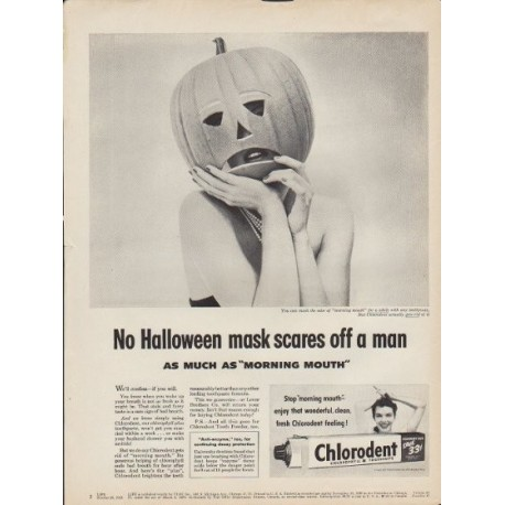 "1953 Chlorodent Ad ""No Halloween mask"""