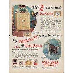 "1953 Sylvania TV Ad ""2 Great Features"""