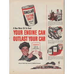 "1953 Sinclair Motor Oil Ad ""Your Engine"""