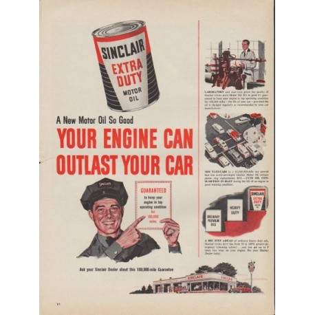 """1953 Sinclair Motor Oil Ad """"Your Engine"""""""