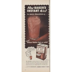 "1953 Baker's Cocoa Mix Ad ""Instant 4 in 1"""