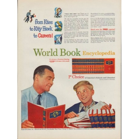 "1953 World Book Encyclopedia Ad ""Kites to Kitty Hawk"""