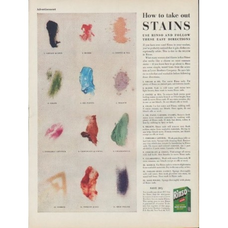 """1953 Rinso Ad """"take out Stains"""""""