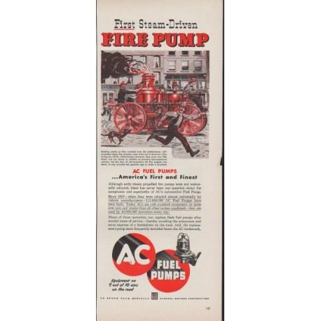 """1953 AC Fuel Pumps Ad """"Fire Pump"""""""