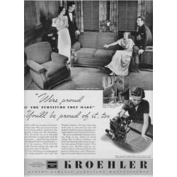 """1937 Kroehler Furniture Ad """"We're Proud"""""""