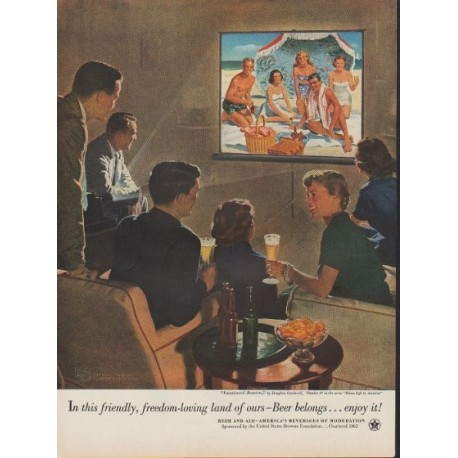 "1953 United States Brewers Foundation Ad ""Beer belongs"""