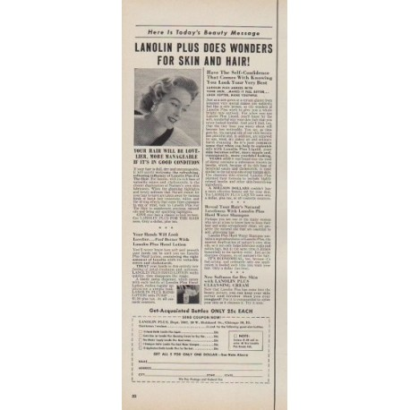 "1953 Lanolin Plus Ad ""Wonders for Skin and Hair"""