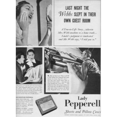 "1937 Lady Pepperell Sheets Ad ""The Webbs"""