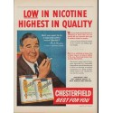 "1953 Chesterfield Cigarettes Ad ""Low In Nicotine"""
