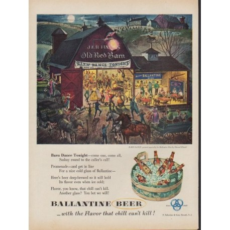 "1953 Ballantine Beer Ad ""Barn Dance Tonight"""