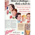 "1937 Libby's Tomato Juice Ad ""A Challenge"""