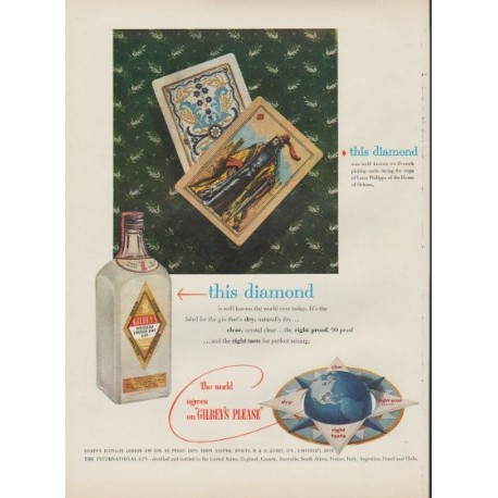 "1953 Gilbey's Gin Ad ""this diamond"""
