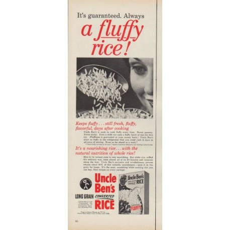 """1953 Uncle Ben's Ad """"a fluffy rice!"""""""