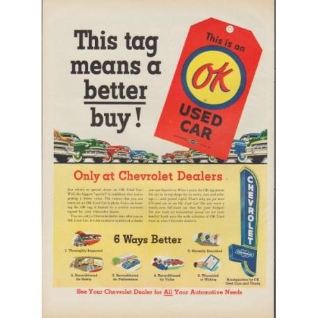"""1953 Chevrolet Ad """"This tag"""""""