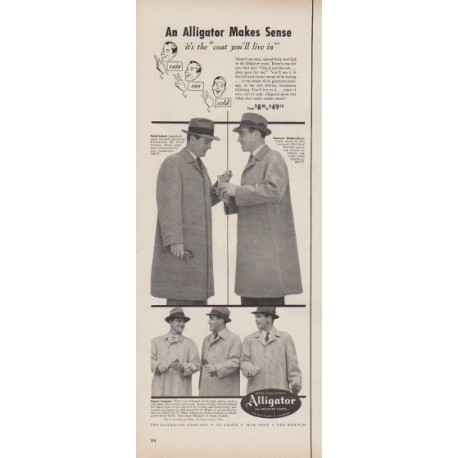 "1953 Alligator Coats Ad ""An Alligator Makes Sense"""