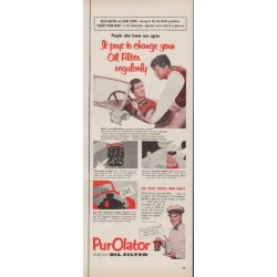 "1953 Purolator Ad ""change your Oil Filter regularly"""