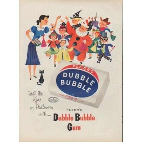 """1953 Fleer's Dubble Bubble Gum Ad """"treat the Kids"""""""