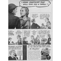 "1937 Listerine Tooth Powder Ad ""A Thrill"""