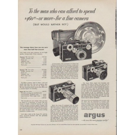 "1953 Argus Ad ""the man who can afford to spend"""