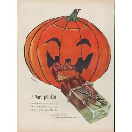 "1953 Milky Way Ad ""smart punkin"""