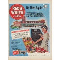 "1953 Red & White Food Stores Ad ""It's Here Again"""