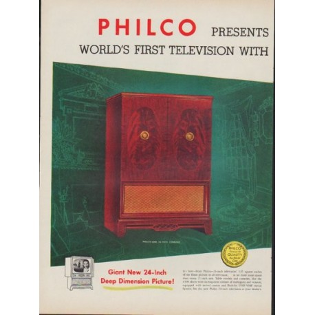 "1953 Philco Television Ad ""Deep Dimension"""