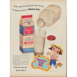 "1953 Meadow Gold Ad ""You're never too young"""