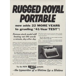 "1953 Royal Typewriter Ad ""Rugged Royal Portable"""