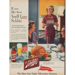 "1953 Schlitz Beer Ad ""If you like beer"""