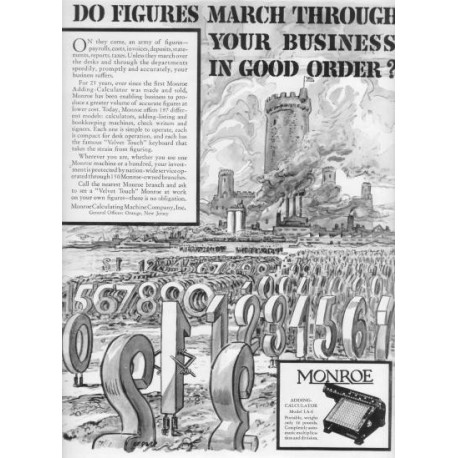 "1937 Monroe Calculator Ad ""Do Figures March"""