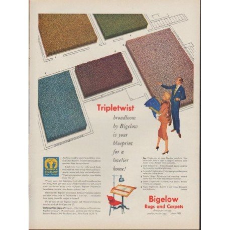 "1953 Bigelow Rugs and Carpets Ad ""Tripletwist"""
