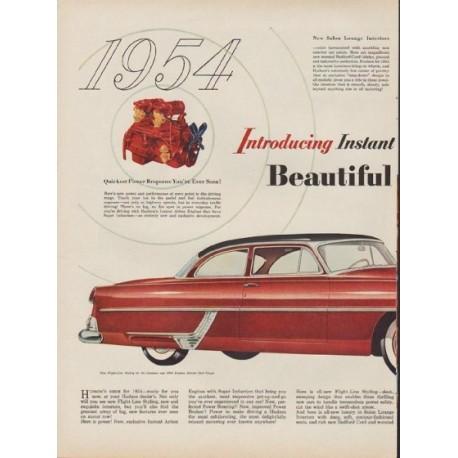 """1953 Hudson Hornet (model year 1954) Ad """"All-New Hudsons"""""""