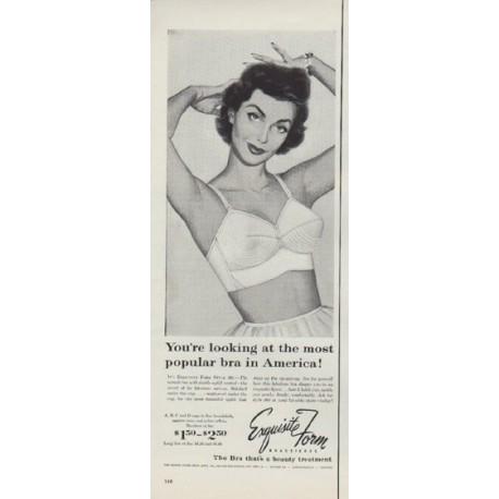 "1953 Exquisite Form Bras Ad ""most popular bra"""