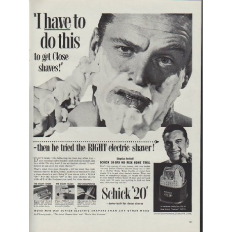 """1953 Schick Ad """"I have to do this"""""""