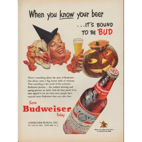 "1953 Budweiser Ad ""When you know your beer"""