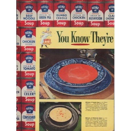 "1953 Heinz Soups Ad ""You Know They're Good"""