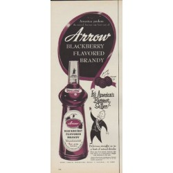 "1953 Arrow Brandy Ad ""Blackberry Flavored Brandy"""