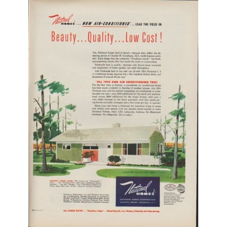 """1953 National Homes Ad """"Now Air-Conditioned"""""""