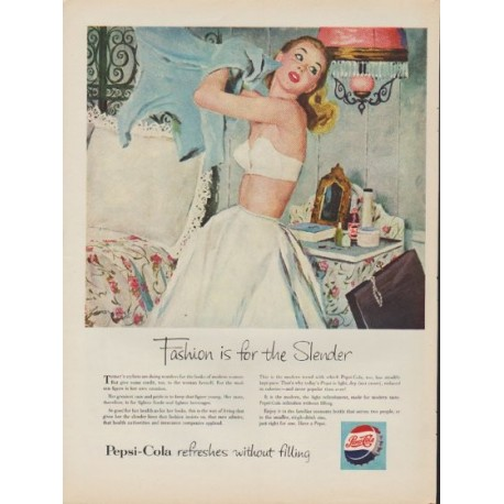 "1953 Pepsi-Cola Ad ""Fashion is for the Slender"""