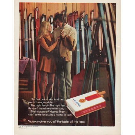 "1971 Viceroy Cigarettes Ad ""Her first pair of skis"""