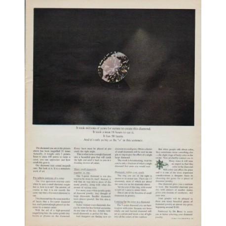 "1971 De Beers Diamond Ad ""millions of years"""