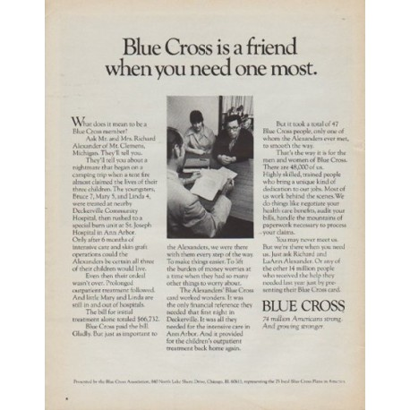 "1971 Blue Cross Ad ""Blue Cross is a friend"""
