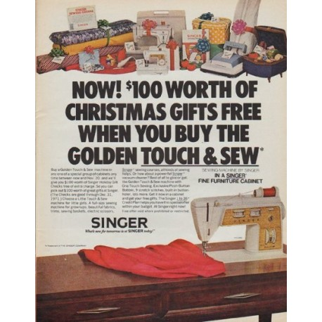 """1971 Singer Sewing Machine Ad """"Christmas Gifts"""""""