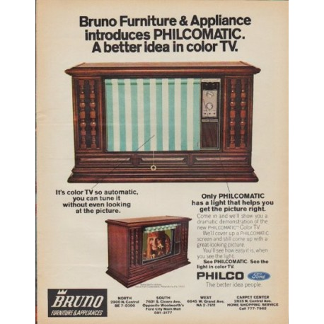 """1971 Philco Television Ad """"Bruno Furniture & Appliance"""""""