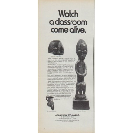 "1971 Alva Museum Replicas Ad ""Watch a classroom come alive"""