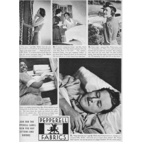 "1937 Pepperell Fabrics Ad ""Pepperell Label"""